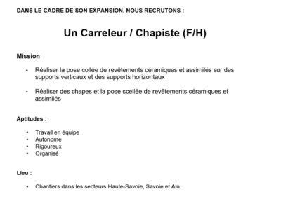 CARRELEUR CHAPISTE
