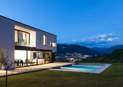modern villa by night